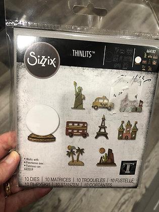 Sizzix Tim Holtz Thinlits Die Set -Tiny Travel Globe