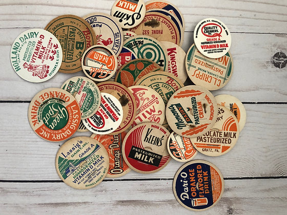 12 Vintage Milk Bottle Caps