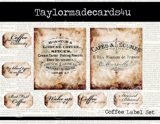 Coffee Labels - 8 Digital images