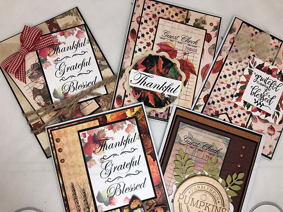 Set of 5 Fall Thankful Cards