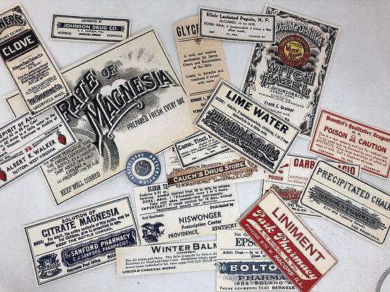 Vintage Pharmacy stickers - Reproduced from original images