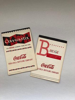 Vintage Canasta For Bridge Scoring Pad with Coca-Cola Advertising