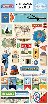 Carta Bella PASSPORT Collection, Adhesive Chipboard Accents