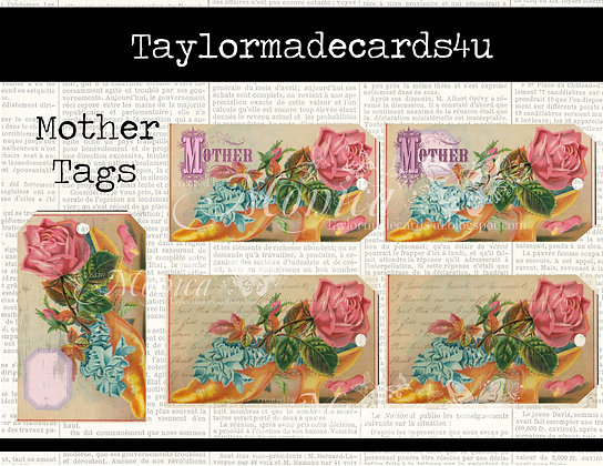 8 piece Mother's Roses Digital Tags