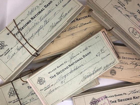 Vintage 1950 Cancelled checks - set of 20