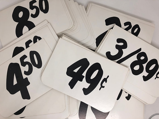"General Store Price Cards measuring 5.5"" x 3.5"" - set of 8"
