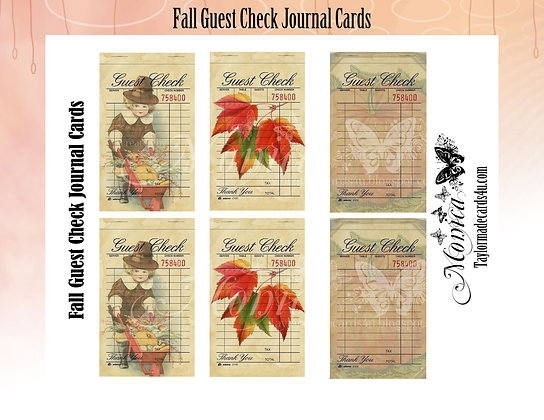 Fall -  6 Fall Guest Check Cards