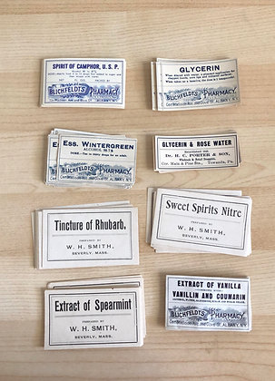8 Vintage Pharmacy labels