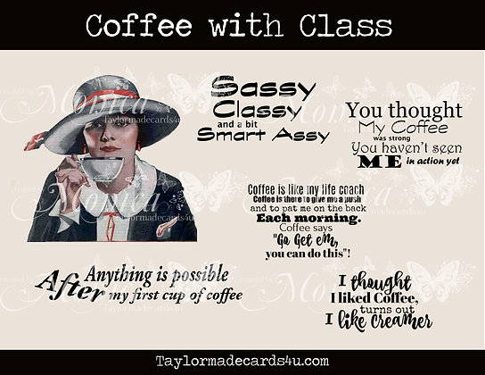 Coffee with Class - Vintage Digital image sentiment set