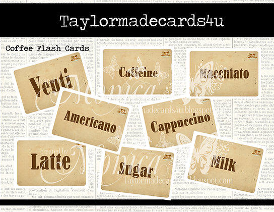 Coffee Flash Cards - Vintage Digital Label Set