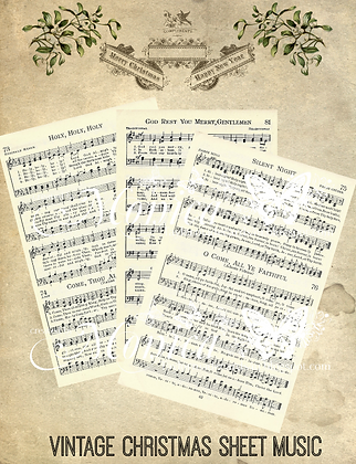 Printable Christmas Music sheets - Set of 6