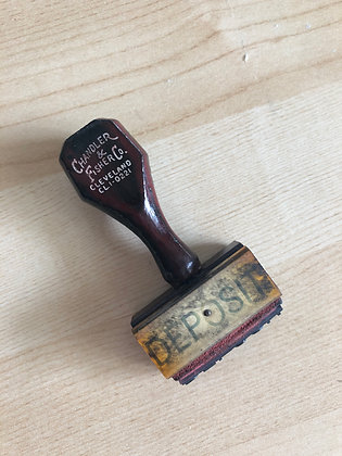 Vintage Deposit Wood Handle Stamp - DEPOSIT
