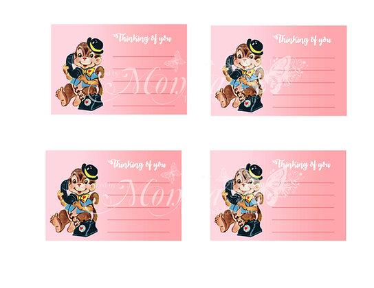 Monkey Valentine Note cards