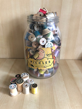 12 Vintage Wooden Thread Spools Various Sizes