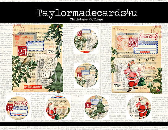 Christmas Collage sheets, ATC Coins