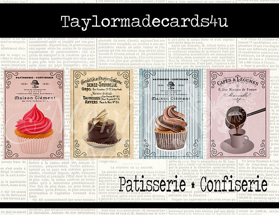 Vintage Patisserie ATC Cards printable images