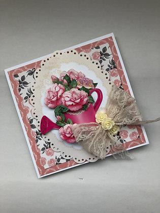 Floral Pink Roses 3D Spring Card