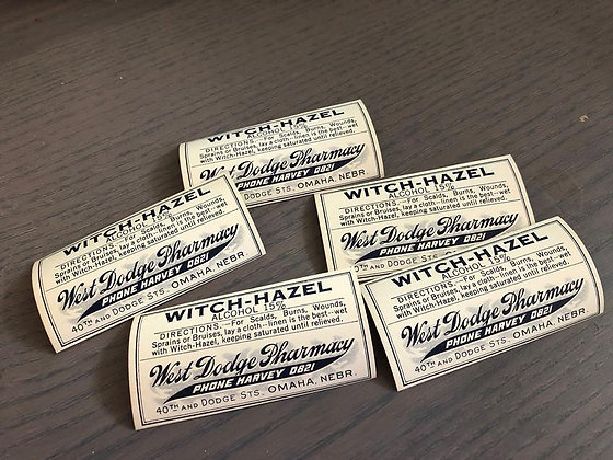 6 Vintage Witch Hazel Pharmacy labels