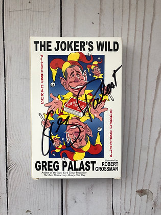 THE JOKER'S WILD NOVELTY POLITICAL SATIRE CARDS, LARGE AUTOGRAPHED Greg Palast