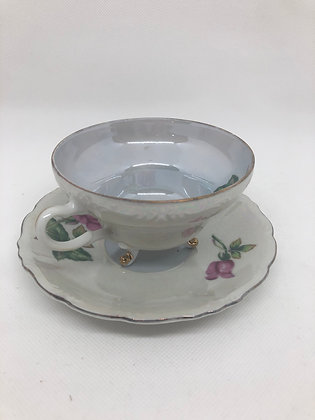 Iridescent Rose Tea Cup and Saucer with Fancy Feet