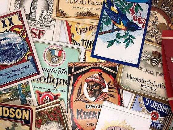 10 Vintage European labels, Vintage Labels