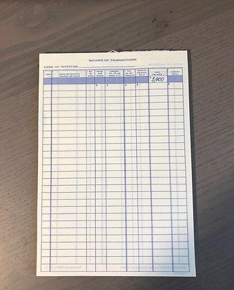 Vintage Stocks & Bonds Game Score Sheets- Set Of 5