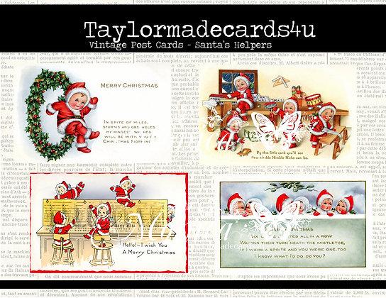 Vintage 1911 Christmas Post Card images - Santa's Helpers