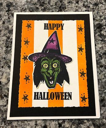 Retro Witch Halloween Card