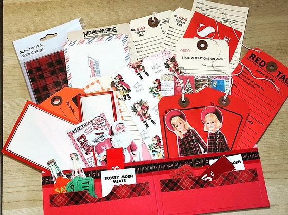 Plaid Christmas Vintage Ephemera & Stamp Pack