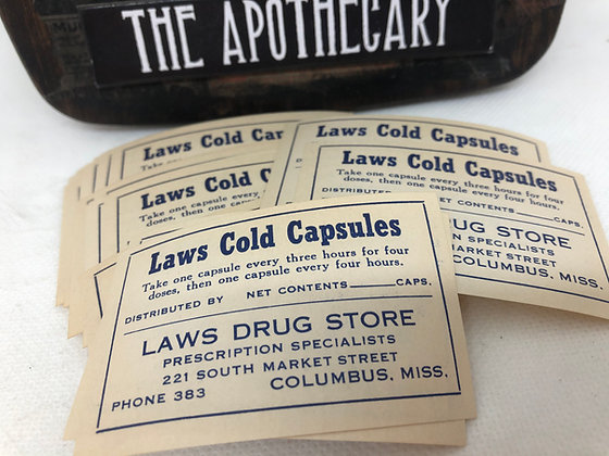 Vintage Laws Cold Capsules  Pharmacy labels