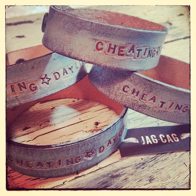 Stamped and Distressed Leather Cuffs
