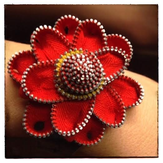 Vintage Zipper Flower Cuff