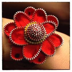 Vintage Zipper Flower Cuff