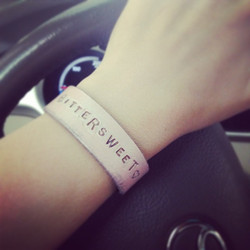 Distressed Leather Cuff in Pale Pink