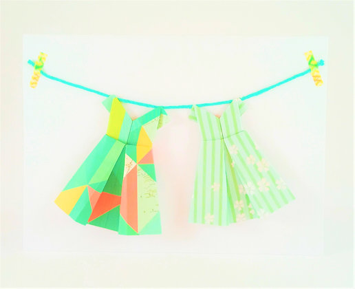 Two little dresses - green theme theme on white card