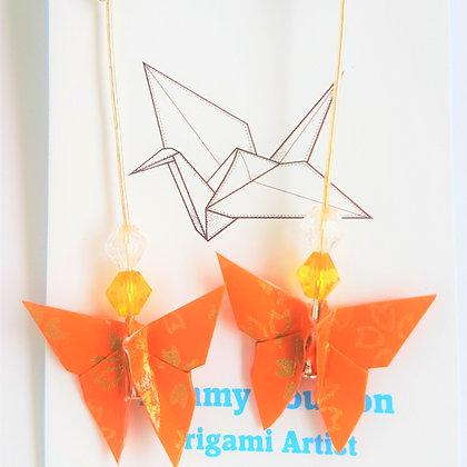 Butterfly - gold statement dangle earrings - dark orange oriental floral print
