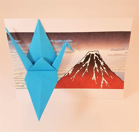 Big blue crane with Fuji