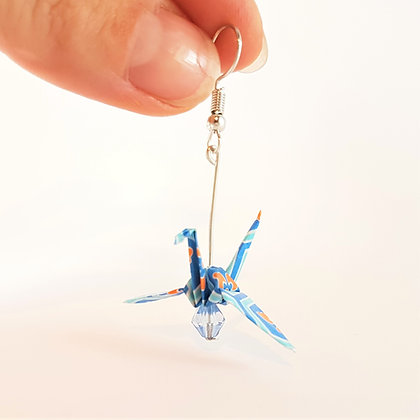 Mini crane - silver 5cm silver dangle - blue & orange print with light blue bead