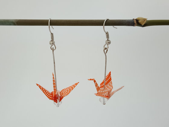 Mini Cranes - silver 5cm dangle - orange with white spots & clear bead