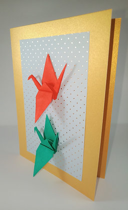 Christmas Card - red and green crane on gold polka-dot background