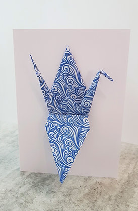 The Blues #1 (wind) Paper Crane on white card