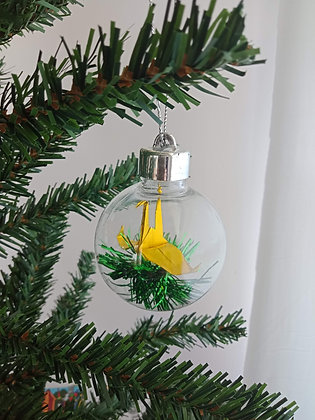 Christmas Ornament Paper Crane Bauble - metallic gold (shown with green tinsel)