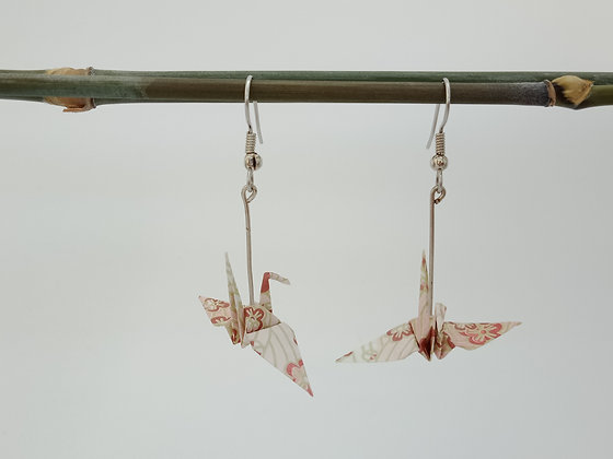 Mini Cranes - silver 4.5cm dangle - pink floral