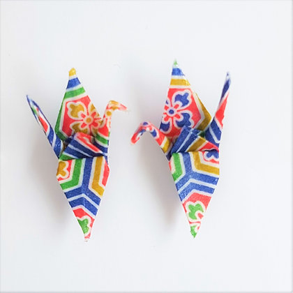 Mini Crane stud earrings - multicolour stripe pattern