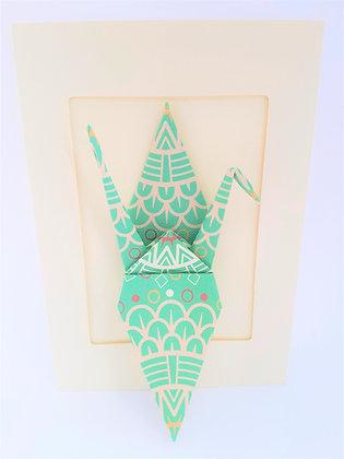 Aqua Geometric Crane in cream coloured card frame