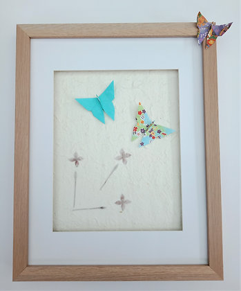 Blue Butterflies on Flower Paper