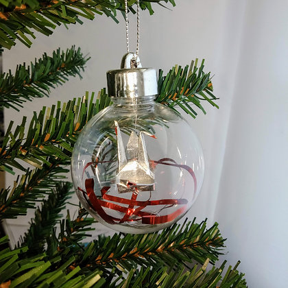 Christmas Ornament Paper Crane Bauble - metallic silver (shown with red thread)