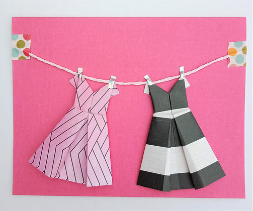 Two little dresses - black and white theme on pink