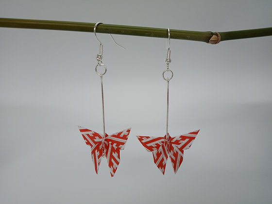Mini butterfly. Silver 6cm dangle - Red and White Stripe Butterfly