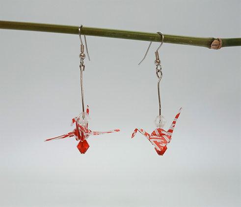 Mini Crane - silver 5cm dangle -red&white stripe with 2 beads